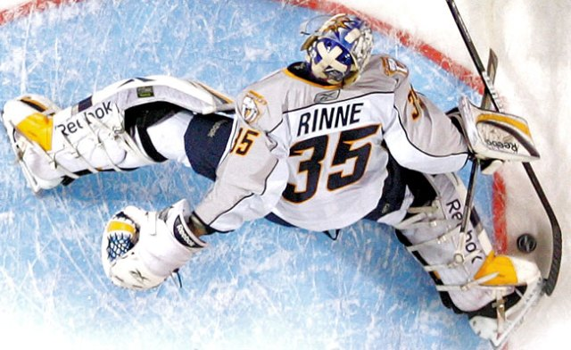 Pekka Rinne was the star of the '10-'11 Predators shocking sweep of '61-'62 Maple Leafs. via nhlsnipers.com