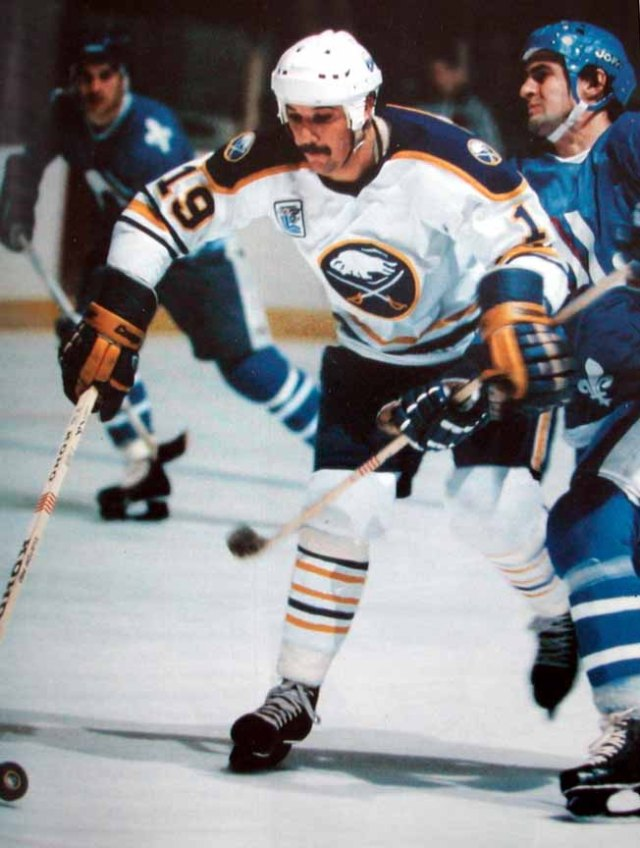 Forward Derek Smith is just one of the many solid contributors that has propelled the Buffalo Sabres into the Semifinal.   via gamewornauctions.net