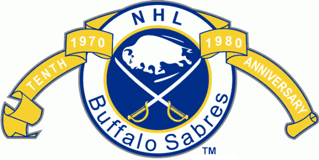 The '79-'80 season was the Buffalo Sabres' 10th anniversary season. (via sportslogos.net)