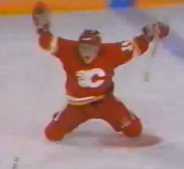 Theo Fleury's goal five minutes into overtime gave the Flames a 1-0 lead in the series.     via davecunning.wordpress.com