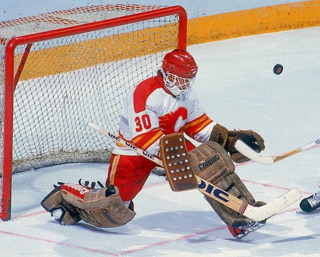 Calgary goaltender Mike Vernon earned a 22-save shutout performance in Game 2 of the Semifinal, but has been very good the entire tournament behind the explosive Calgary offense.    flamesnation.ca