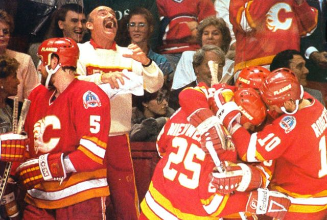 The '88-'89 Calgary Flames faced adversity for the first time in this tournament when they dropped the first two games and later trailed 3-1 in the series, but they proved they're the best with this comeback. (via calgarysun.com)