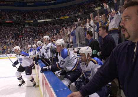 The reigning Blues representativs are off to a good start as they defeat the '00-'01 Blues in five games. (via geocities.ws)