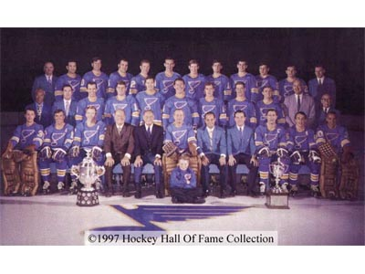 The '69-'70 Blues are heading to the Qualifying Final after defeating the '80-'81 Blues in six games. (via legendsofhockey.net)