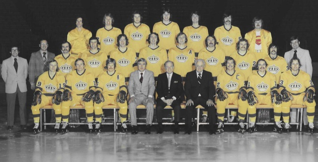 "The '74-'75 Los Angeles Kings.....that's a lot of ""piss"" yellow. (Photo via kings.nhl.com)"