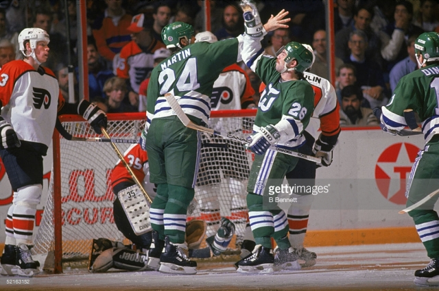 ___ Ferraro's heroics mean the '85-'86 Whalers will now have represented the franchise in all three Ultimate NHL Playoffs. (via Getty Images/B Bennett)