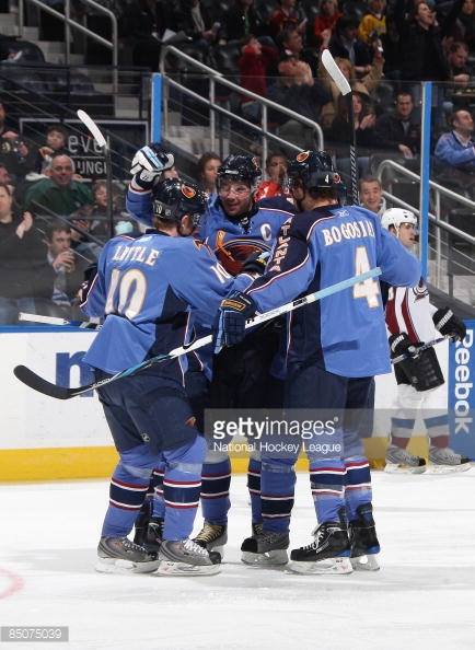 The '08-'09 Atlanta Thrashers are making their second straight Ultimate NHL Playoff appearance. (via Getty Images/National Hockey League)