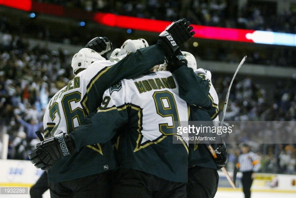 The '02-'03 Dallas Stars are now one of the many franchises that will have three-peat representatives. (via Ronald Martinez/Getty Images)