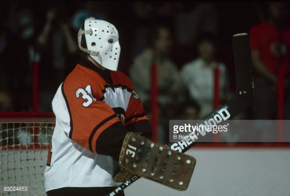 The play in net from _____ Lindbergh is a major reason as to why the '84-'85 Flyers will be making their first UNP appearance. (photo via B Bennett/Getty Images)