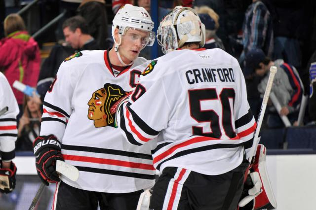 The '12-'13 Chicago Blackhawks missed out on last year's UNP after qualifying for the inaugural tourney, but captain ________ Toews and goalie _____ Crawford have them back. (via blackhawks.nhl.com)