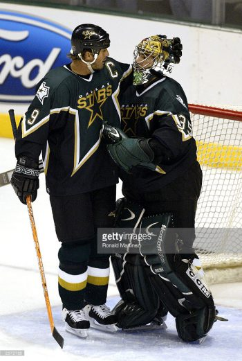 ____ Modano and _____ Turco both played a pivotal role in the '02-'03 Stars' elimination of the '88-'89 Flames' again. (via Getty Images/Ronald Martinez)