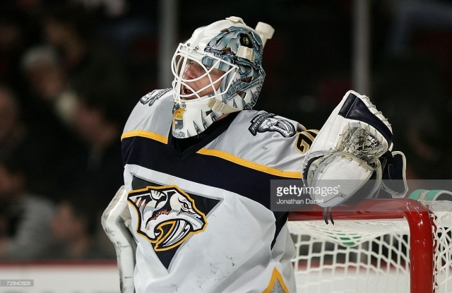 _____ Mason became the starter for the '06-'07 Predators in the middle of their First Round matchup, but now he's taking the reigns of the entire team. (Photo via Jonathan Daniel/Getty Images)